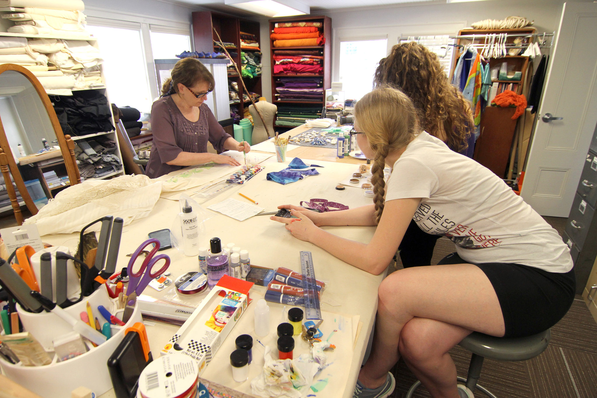 Students work on costumes