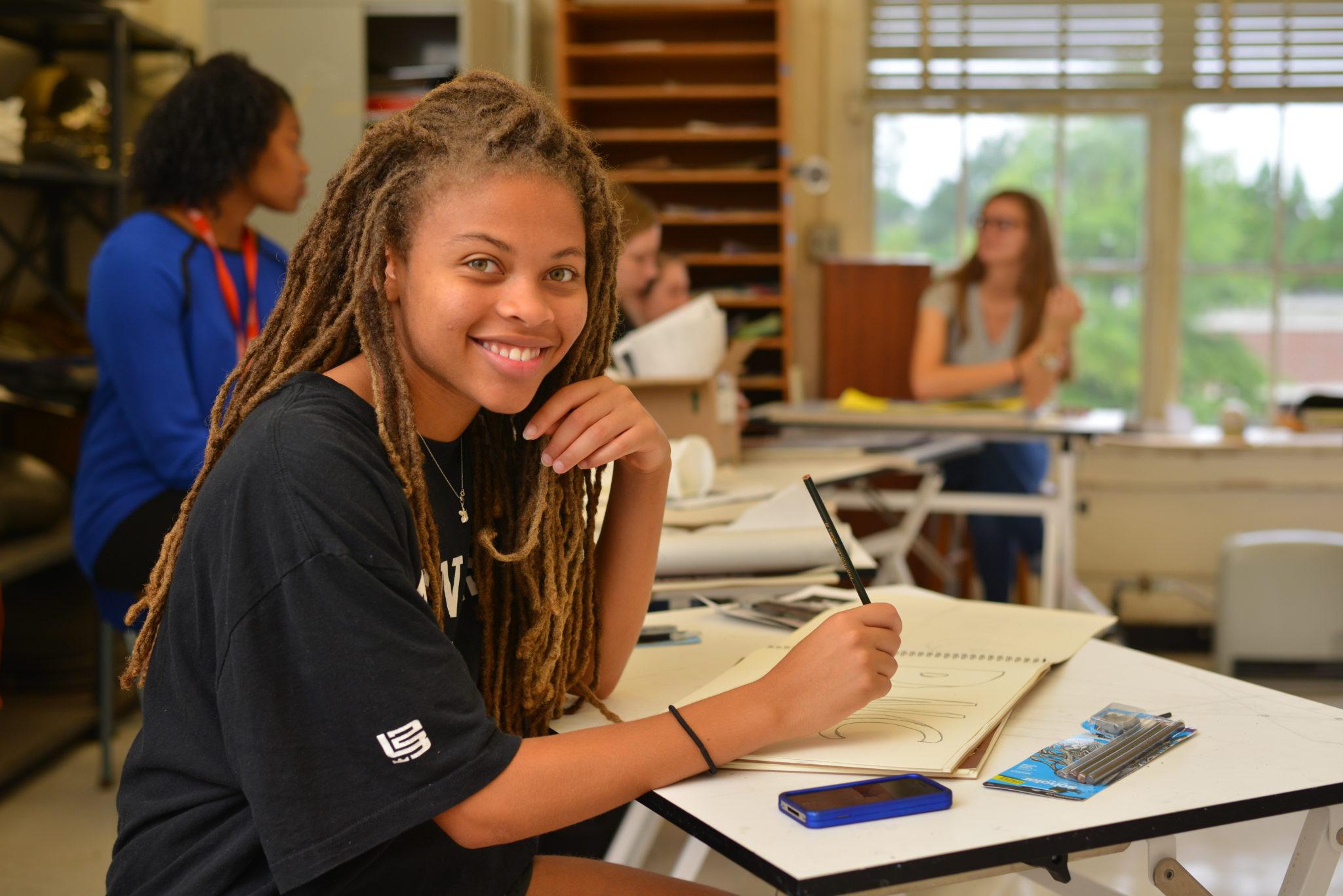 A student in an art class
