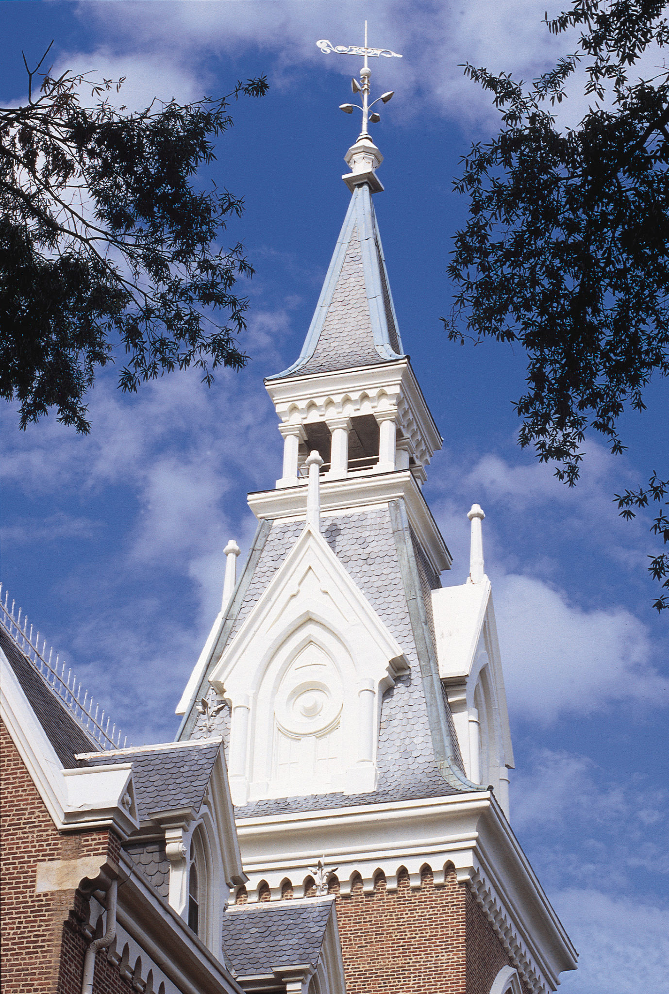 A spire on the Administration Building on Mercer University's Macon campus.