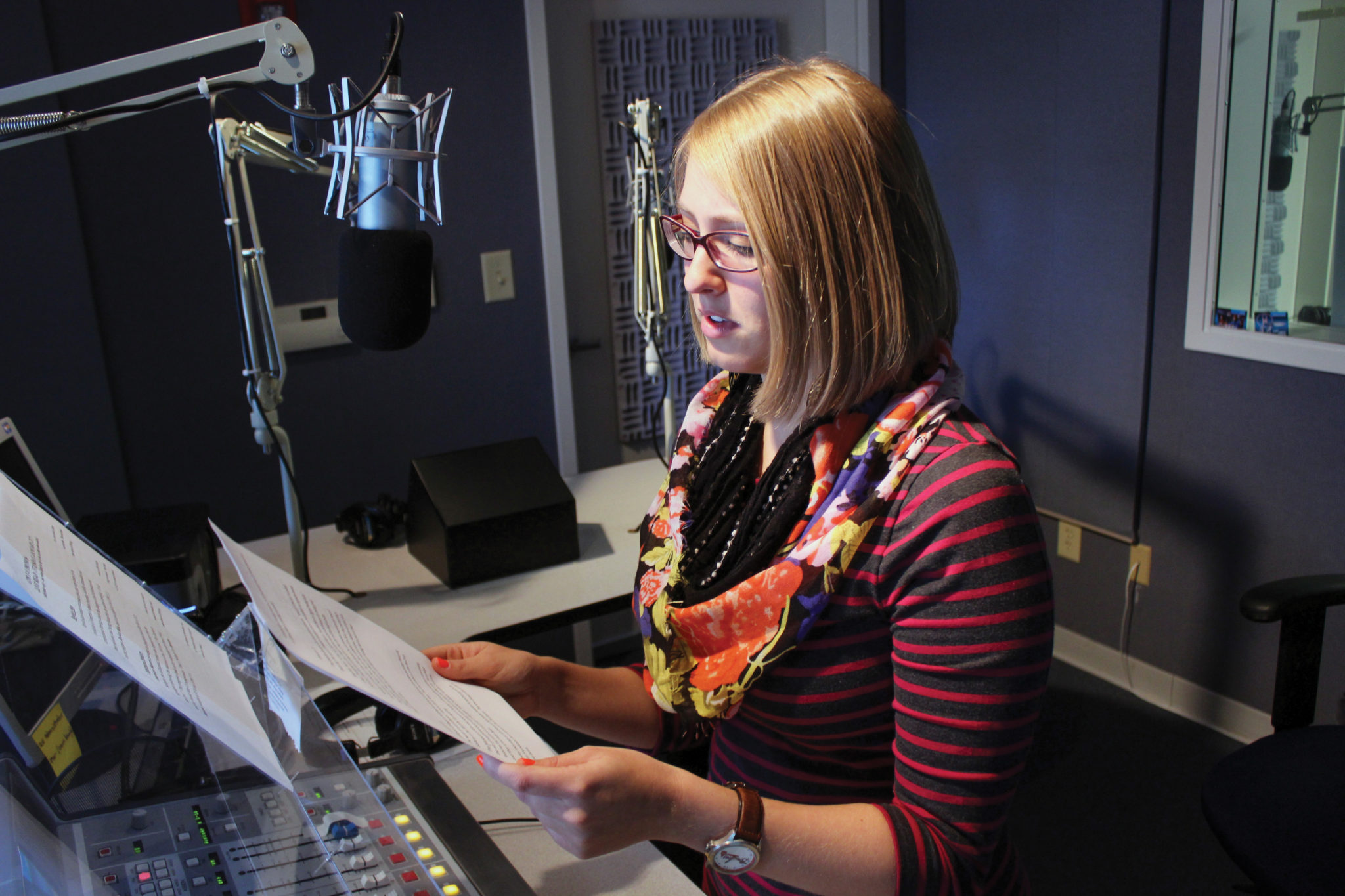 A student in the GPB studio