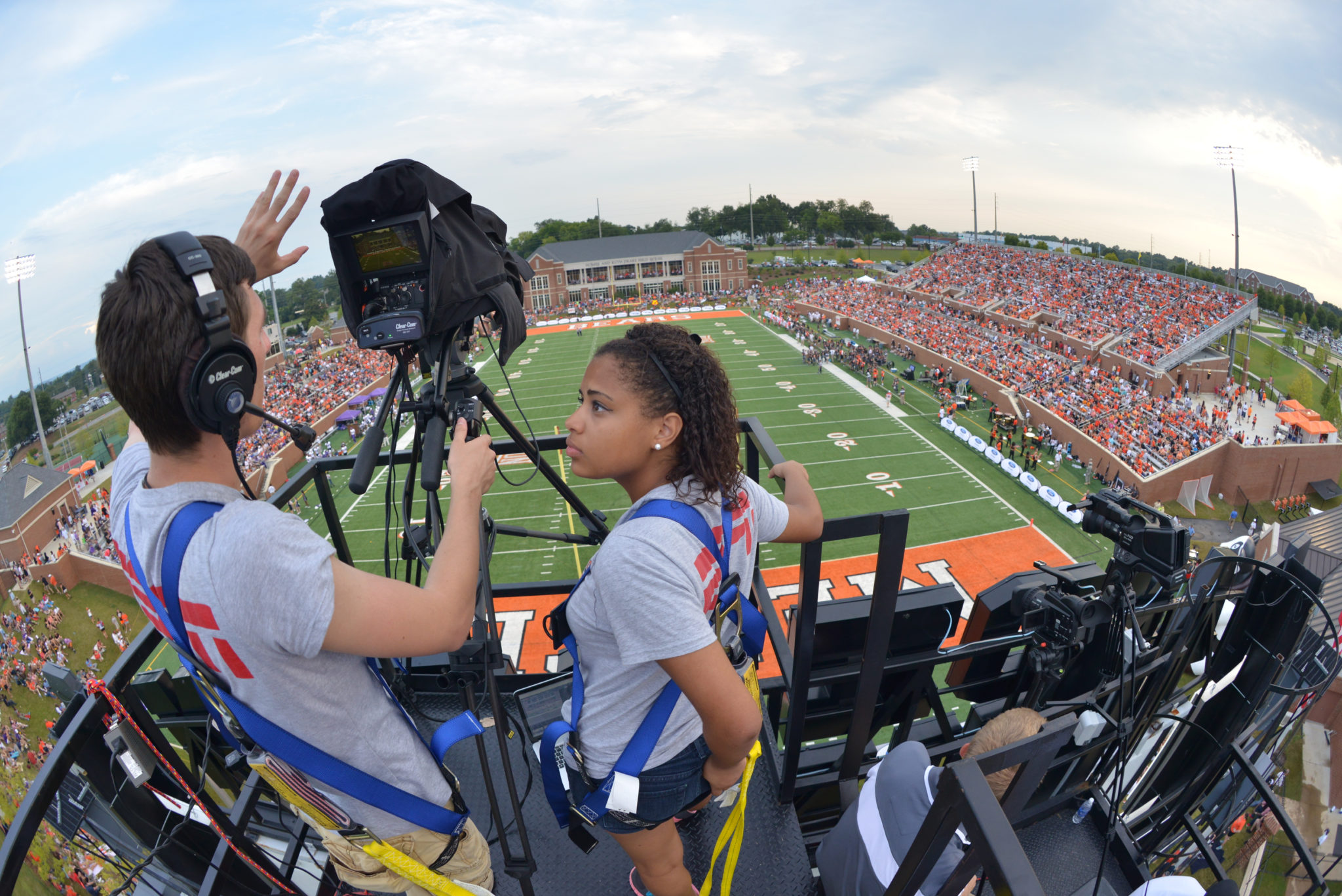 Mercer University Journalism students work with ESPN3 on a football game day.