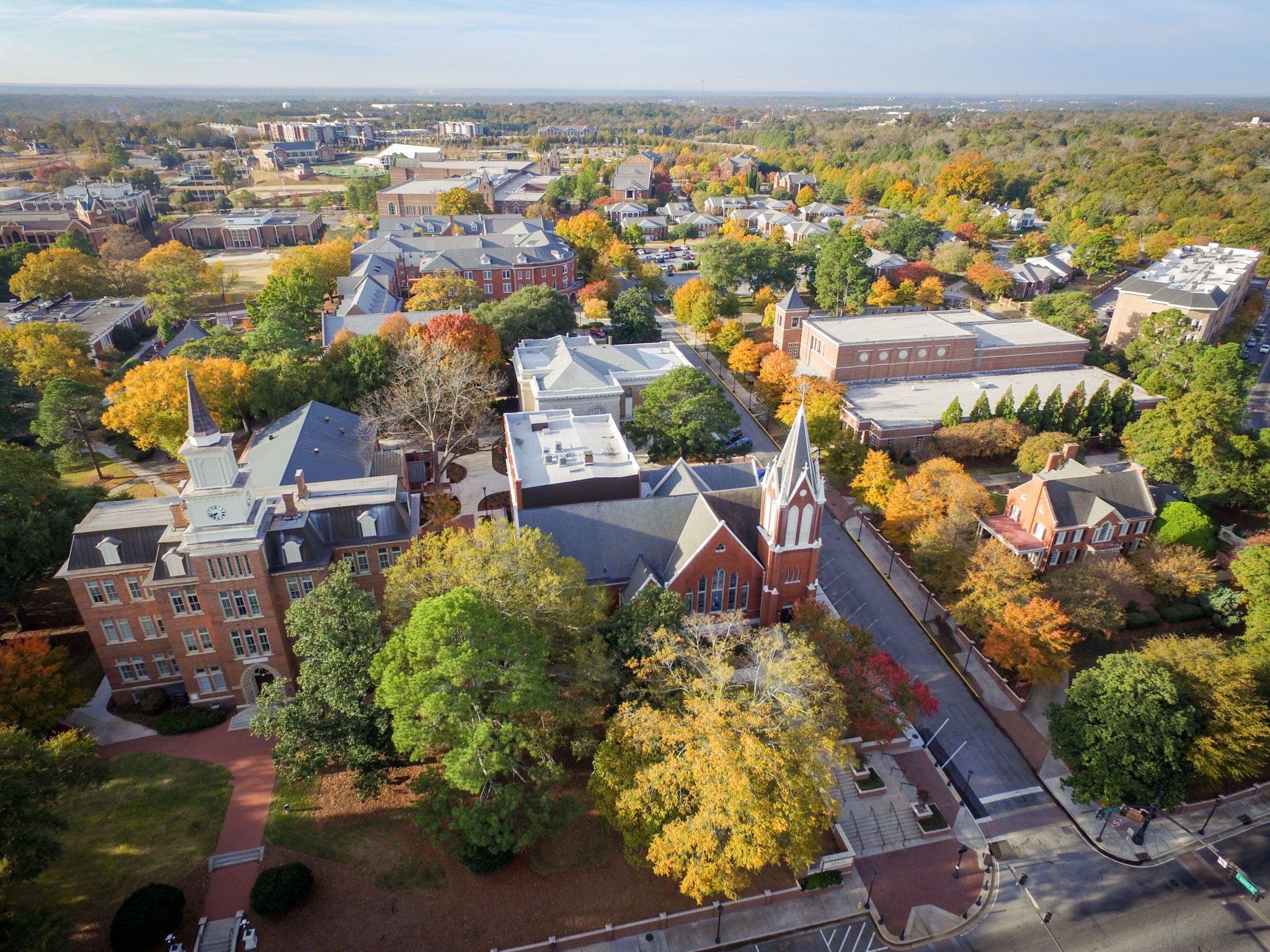 Drone photo of Mercer's campus