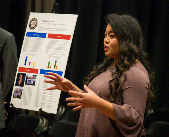 A student makes a Political Science research presentation.