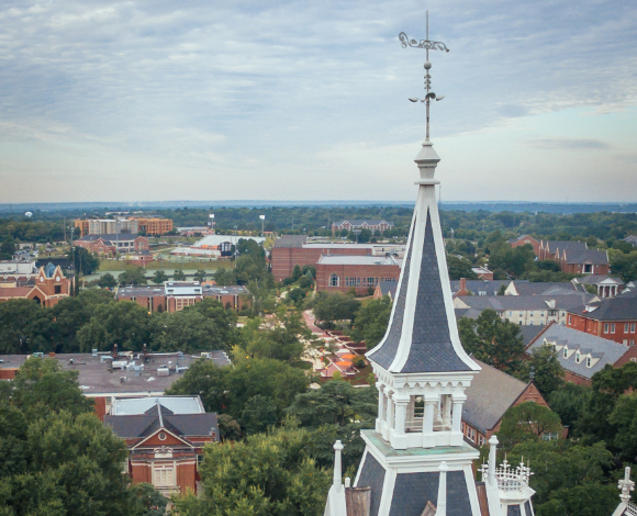 Spires on the administration building shot from a drone