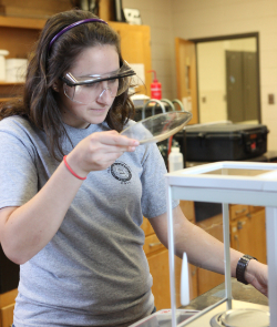 A student in a chemistry lab