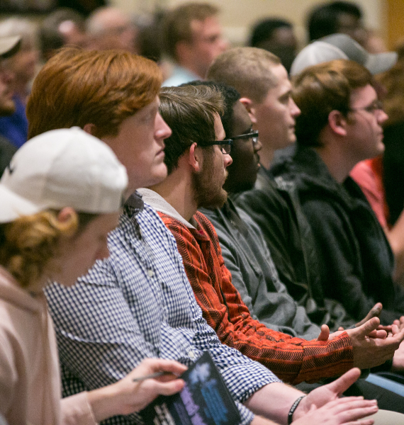 Students listen to the 2018 Byington Lecture.